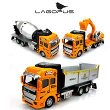 1:48 Miniature Model Trucks Toy Alloy Engineering Vehicles Tanker Dump Truck Garbage Car Excavator Toys Gift for Children (Digging Car)