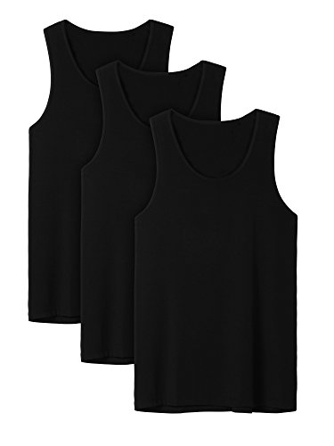 David Archy Men's 3 Pack Bamboo Rayon Undershirts Crew Neck Tank Tops(Black,M)