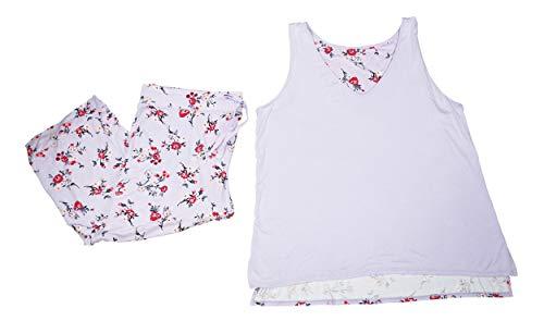 Alfani Floral Print Tank Top Pants 2-Piece Pajama Set (Bouquet Lilac, XX-Large)