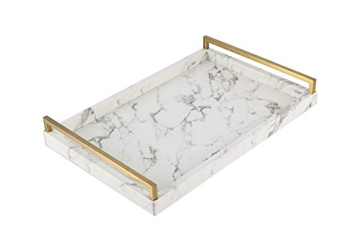 WV Decorative Tray Faux Leather PU Marble Finish with Brushed Ti-Gold Stainless Steel Handle (White) (White Steel Handle)