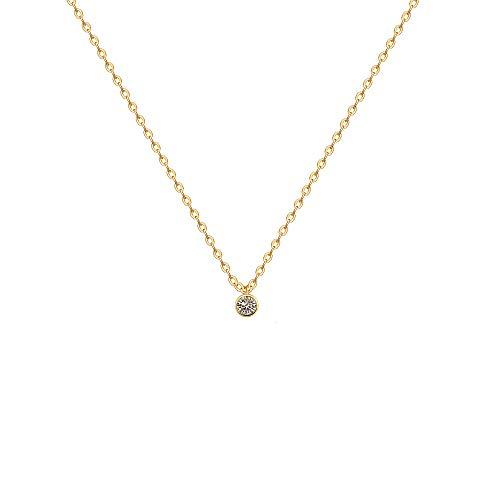 Fettero-Cubic-Zirconia-Pendant-Necklace14K-Gold-Plated-Round-Cut-CZ-Bezel-Set-Solitaire-Necklaces-for-Women165005007012CT