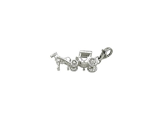 14k White Gold Horse And Carriage Charm With Lobster Claw Clasp, Charms for Bracelets and Necklaces