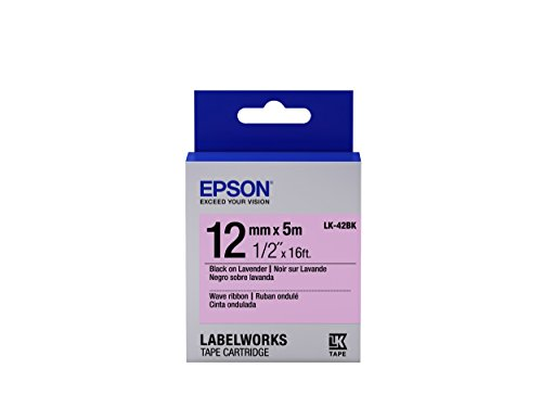 "Epson LabelWorks Wave Ribbon LK (Replaces LC) Tape Cartridge ~1/2"" Black on Lavender (LK-42BK) - For use with LabelWorks LW-300, LW-400, LW-600P and LW-700 label printers"