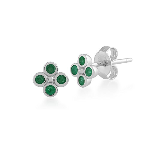 (Gemondo Emerald Earrings, Sterling Silver 0.24ct Emerald Cluster Stud Earrings )