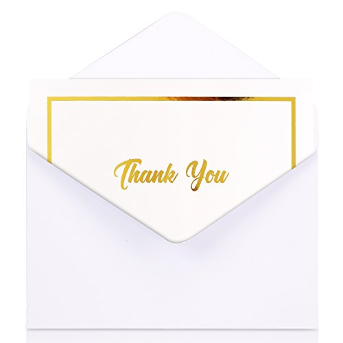 Thank You Cards with Envelopes (100 Pack) - White Cards with Embossed Gold Foil, Bulk Set Perfect for Wedding, Engagement, Bridal Shower, Baby Shower, Business