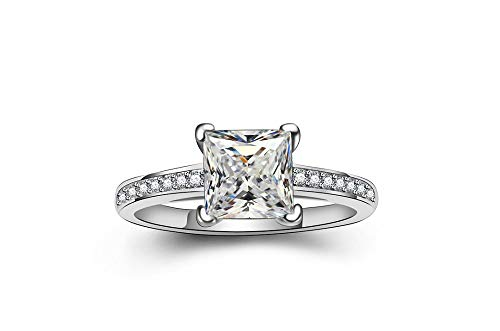BeFab 0.5 Ct Princess Cut Classic Solitaire Wedding Engagement Ring Cubic Zirconia Accented (7) ()