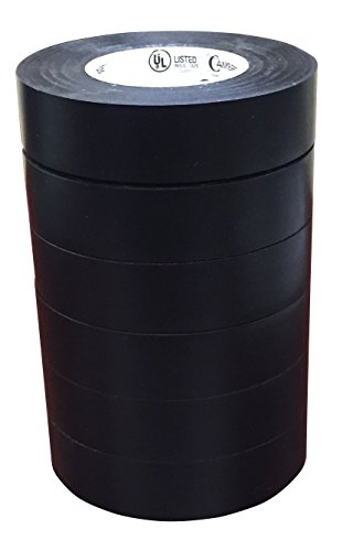 Cambridge Black Electrical Tape 3/4 Inch by 66 Feet per Roll; 6 Roll Multi Pack for Value; Professional Grade UL and CSA Listed