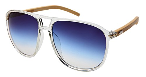 Edge I-Wear Oversized Classic Wood Bamboo Square Aviator Sunglasses w/Gradient Lens - Aviator Ray Ii Light