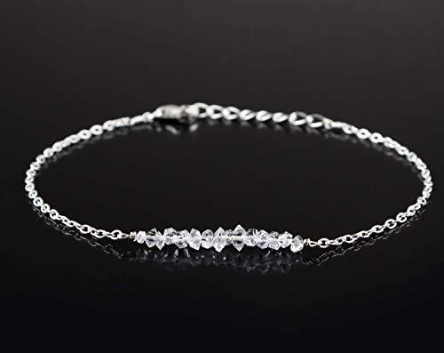 - Raw Herkimer White Diamond Quartz Bracelet Dainty Boho Jewelry 925 Sterling Silver Chain April Birthstone