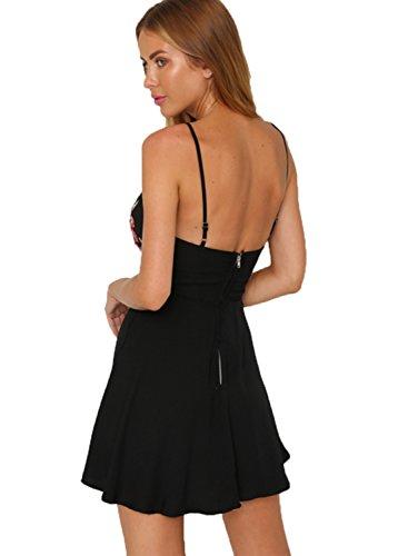 Broderie Florale Profonde Col V De Femmes Achicgirl Mini-robe Noire
