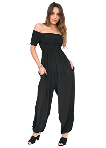 likemary Silk Look Off Shoulder Harem Jumpsuit Black L