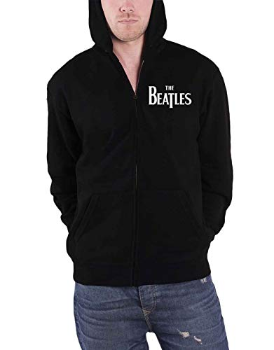 The Beatles Hoodie Drop T Band Logo Official Mens Black Zipped Size XL ()