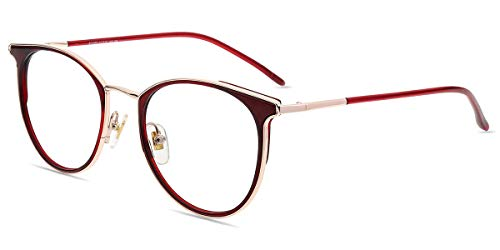 Firmoo Blue Light Blocking Glasses,Computer Glasses Anti Eyestrain Anti Headache Glare Free Retro Round Horn-Rimmed Eyeglasses for Women and Men (Burgundy Red)