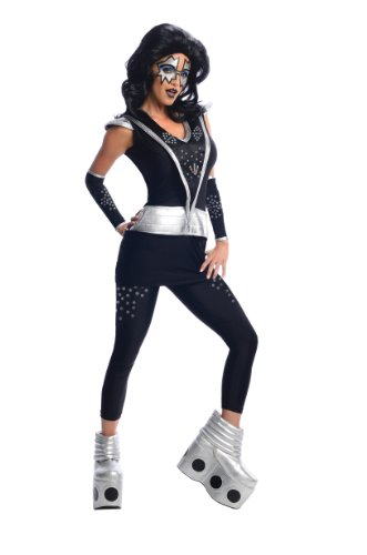 [Secret Wishes Kiss Collection, Spaceman, Black/Silver, Medium] (Rock And Roll Halloween Costume)