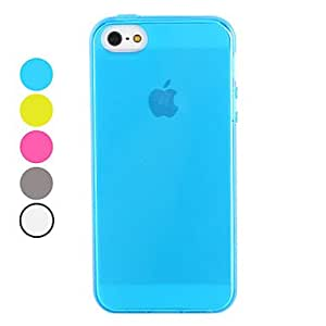 Light Surface Transparent TPU Soft Case for iPhone 5/5S (Assorted Colors) --- COLOR:Blue