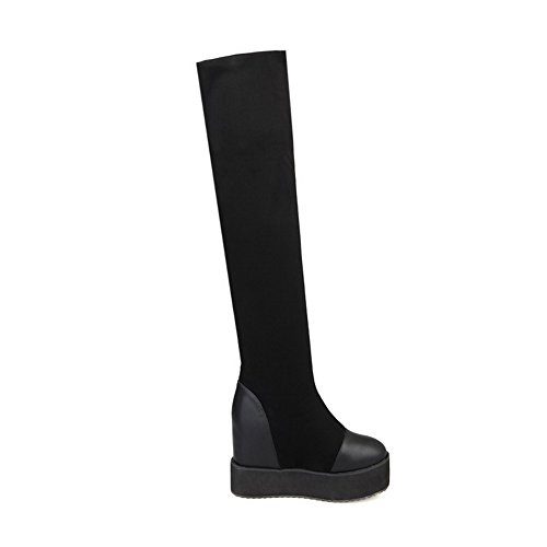 Heels High Boots Allhqfashion Material Soft Toe Black Women's Pull Solid Closed Round On WqazCBpwqx