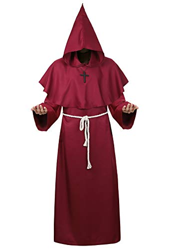 Halloween Cosplay Costume Cloak Medieval Friar Priest Monk Robe Hooded Cap Cloak for Wizard Sorcerer Wine Red Small -