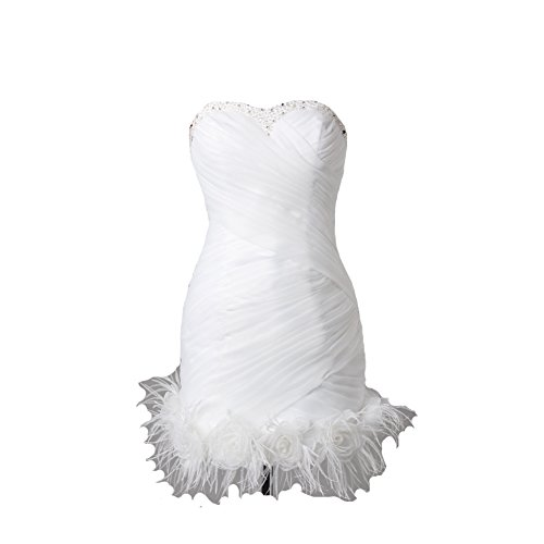 Kivary Women's Short Little White Beaded Feathers Informal Wedding Prom Cocktail Dresses US 6 by Kivary