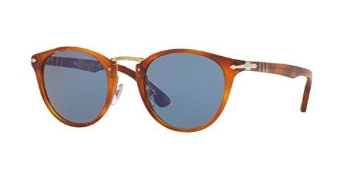 Persol Men's Mirrored PO3108S-96/56-49 Brown Round - Mirrored Persol Sunglasses