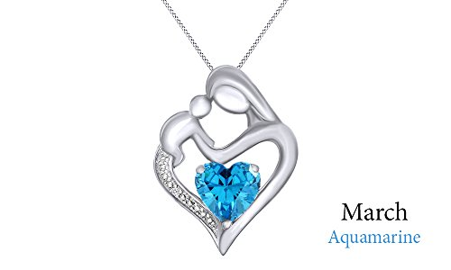 Aquamarine & White Natural Diamond Mother & Child Heart Pendant in 14k White Gold Over Sterling Silver