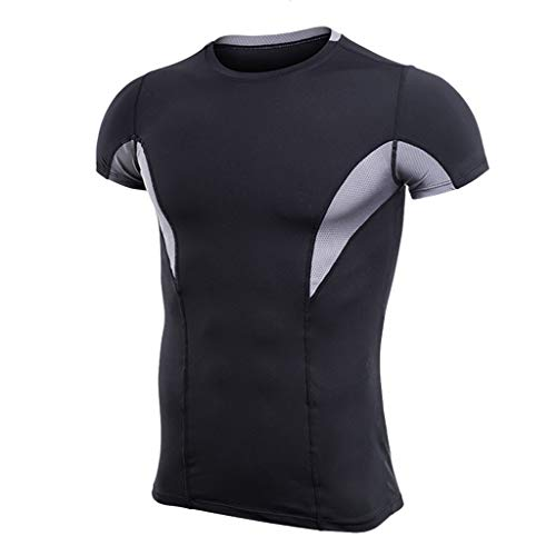 JJLIKER Mens Cool Dry Compression Baselayer Short Sleeve T Shirts Sports Tights Shirt Running Yoga Workout Undershirts Gray ()