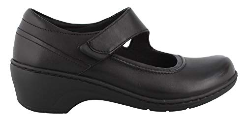 CLARKS Women's Channing Penny Mary Jane Flat, Black Leather, 085 M US