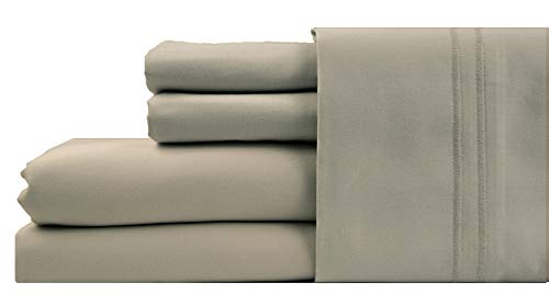 Linenwalas 100% Cotton Bed Sheet - 1000 Thread Count Deep Pocket 4 Piece Sheets|Silk Like Soft, Hypoallergenic, Breathable & Cooling|Hotel Luxury Bedsheets Deal (California King, Silver)
