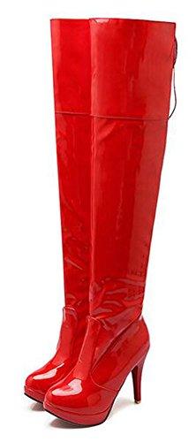 Chfso Donna Inverno Elegante Stiletto Stringato Tacco Alto Con Cerniera Piattaforma Tacco Alto Sopra Gli Stivali Al Ginocchio Rosso