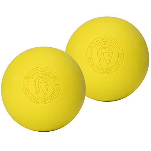 Signature Lacrosse Ball Set - Massage Balls, Myofascial Release Tools, Back Roller, Muscle Knot Remover, Firm Rubber -Scientifically Designed for Durability - 2 Yellow Lacrosse Balls