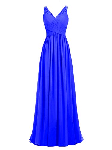 A-line V-Neck Chiffon Long Empire Bridesmaid Dresses Simple Prom Dresses (16, Royal Blue)