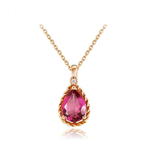 Daesar Elegant 18K Gold Necklace For Women Natural Pear Gemstone Pink Tourmaline Necklace Length: 45CM by Daesar