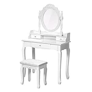 Amazon.com: Giantex Vanity Table Set with Mirror and Stool