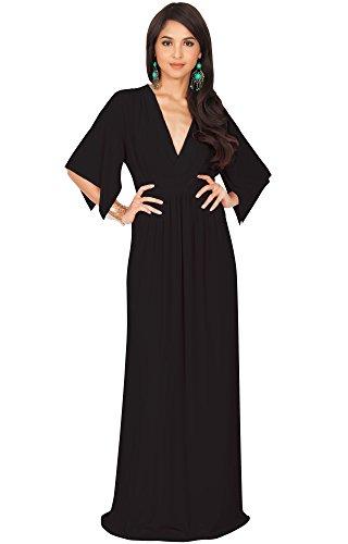 KOH KOH Plus Size Womens Long Kaftan Caftan Short Sleeve Empire Waist Flowy V-neck Summer Bridesmaid Evening Sexy Cute Modest Maternity Gown Gowns Maxi Dress Dresses, Black XL ()