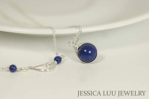 (Sterling Silver Blue Lapis Necklace with Dark Lapis Swarovski Pearl Pendant Wire Wrapped)