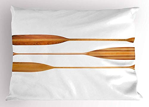 (Tigeaslg Oar Pillow Sham, Three Traditional Wooden Canoe Paddles with Different Shape of Blades Exotic Sports, Decorative Standard Queen Size Printed Pillowcase, 30 X 20 inches, Sand Brown)