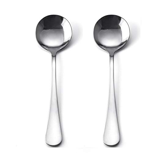 Pound 18/10 Stainless Steel Bouillon Spoon,Soup Spoon, Bead Cutlery, 7.6-Inch, Set of 2