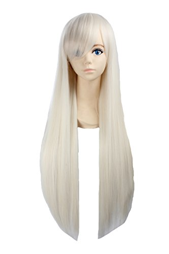 [Angelaicos Unisex 80cm Various Color General Anime Cosplay Costume Party Halloween Natural Full Wig Long Straight 31 Inches (White] (Et Halloween Costume)