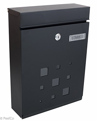 Contemporary House Letter (PeelCo Modern Rust Proof Powder Coated Galvanized Steel Black Vertical Lockable Mailbox,)