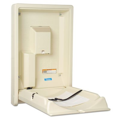 Standard Recessed Vertical Baby Changing Station, Cream, Sold as 1 Each