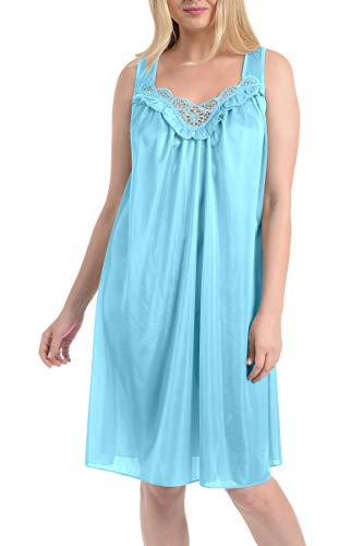(Ezi Women's Satin Silk and Lace Sleeveless Lingerie Nightgown,X-Large,Jewel Blue)