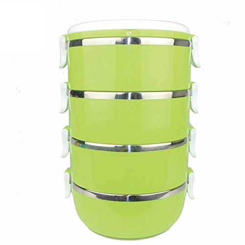 FHCDM lunch box AHTOSKA Four Layer Portable PP And 304 Stainless Steel Plastic lunch box containers with compartments for food-in Lunch Boxes from Home & Garden,Green