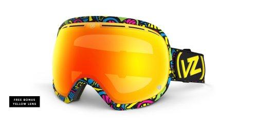 VonZipper Fishbowl Spherical Snow Goggle, Happy Caps/Fire - Fishbowl Zipper Von