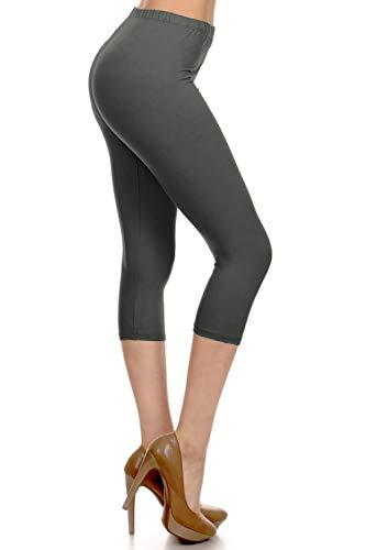 HLDCPR-Charcoal-OS Premium Active-Flex Solid Capri Leggings, One Size