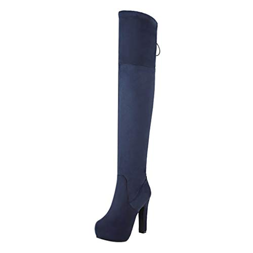 Haforever Women's Thigh High Over The Knee Stiletto Heel Pointy Toe Stretch Boots Zip up Punk Martin Boot Knee High Dress Boots