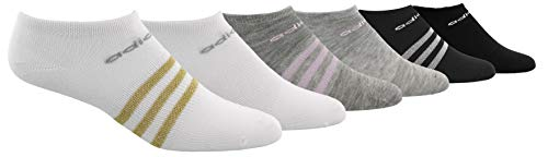 adidas Youth Kids-Girls Superlite No Show Socks (6 Pair), White/Gold Lurex/Clear Onix Light Heather Grey/Aer, Small, (Shoe Size 9C-1Y)