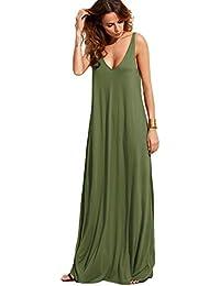 03e2cb67bd93 Women's Casual Sleeveless Deep V Neck Summer Beach Maxi Long Dress