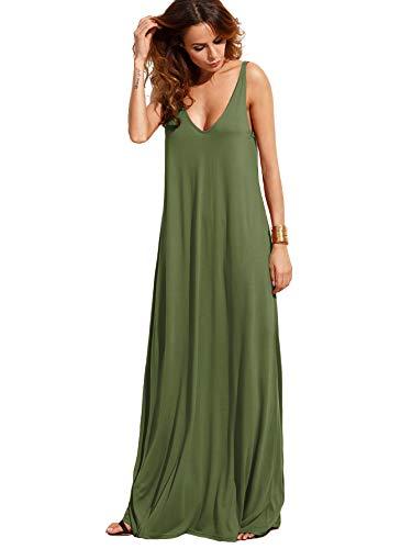 Verdusa Women's Casual Sleeveless Deep V Neck Knitted Shift Sexy Maxi Long Dress Olive Green XL