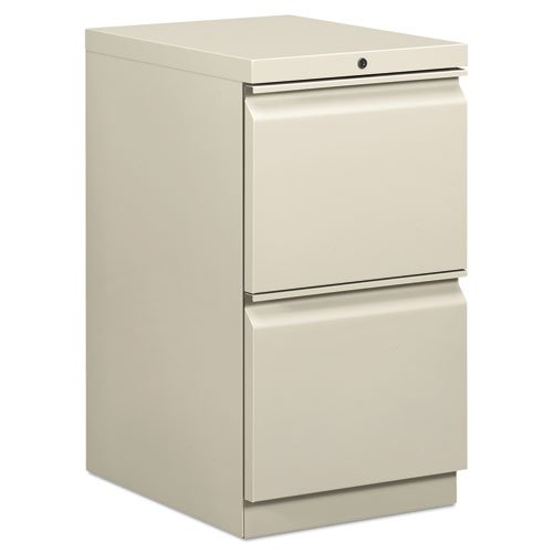 (HON Brigade Standard Height Pedestal - 15quot; x 19.9quot; x 28quot; - 2 x File Drawer(s) - Security Lock - Light Gray )
