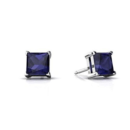 Solitaire Stud Post Earring Princess Cut Simulated Deep Blue Sapphire 925 Sterling Silver ()