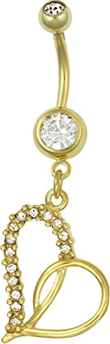 14kt Gold Plated Surgical Steel Pave CZ Simulated Diamond Heart Dangle Belly Button Ring 14kt Diamond Heart Navel Jewelry